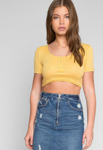 Bluestone Short Sleeve Crop Henley Top in Yellow