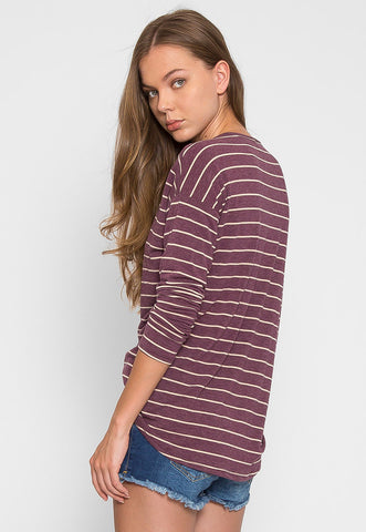 School Day Stripe Knit Top in Purple