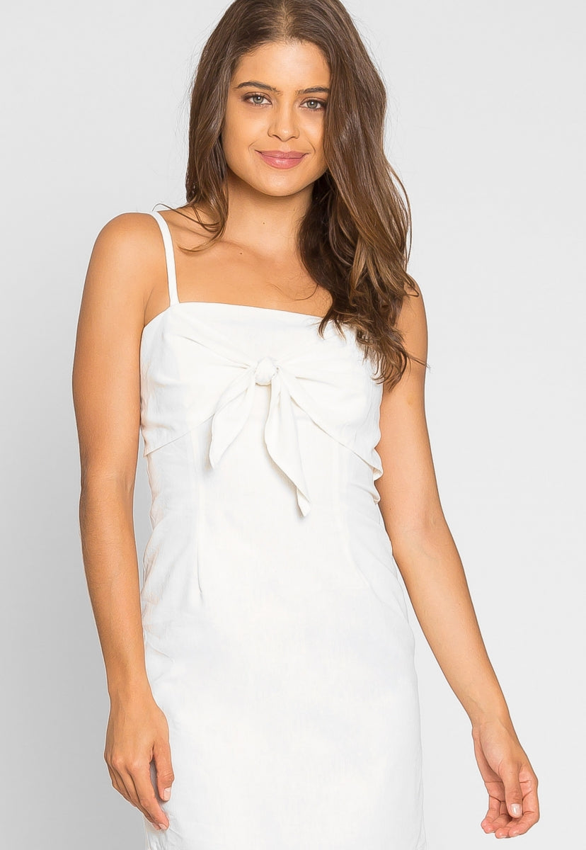 Eve Tie Front Linen Dress - Dresses - Wetseal