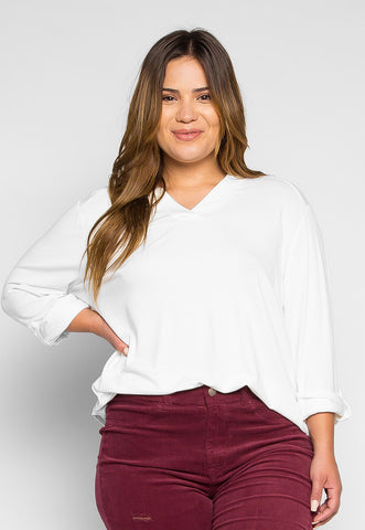 Plus Size Madeline Roll Tab Sleeve Blouse in White
