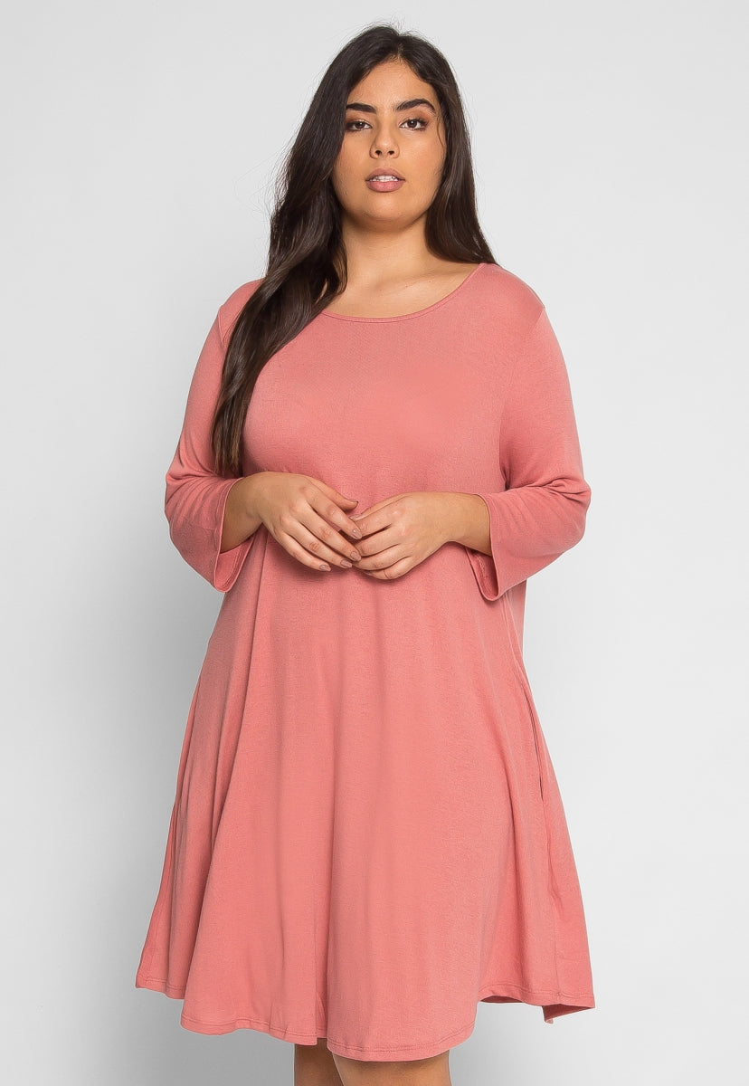 Plus Size Albany Trapeze Dress in Light Pink - Plus Dresses - Wetseal