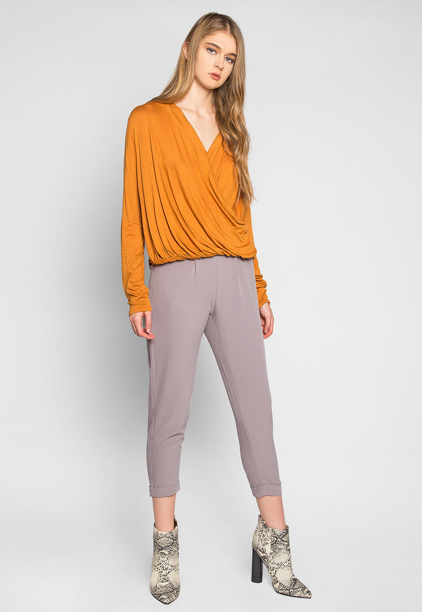 Make Me Feel Wrapped Knit Top in Brown - Shirts & Blouses - Wetseal