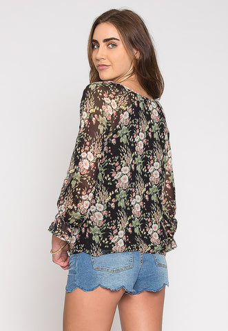 Sydney Floral Blouse in Black