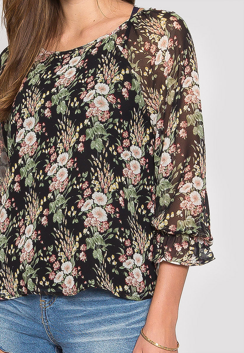 Sydney Floral Blouse in Black - Shirts & Blouses - Wetseal