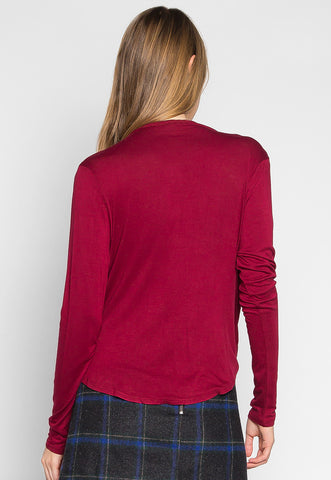 Make Me Feel Wrapped Knit Top in Burgundy