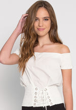 Hard Kick Off Shoulder Top in White