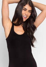 Divine Scallop Edge Tank Top in Black