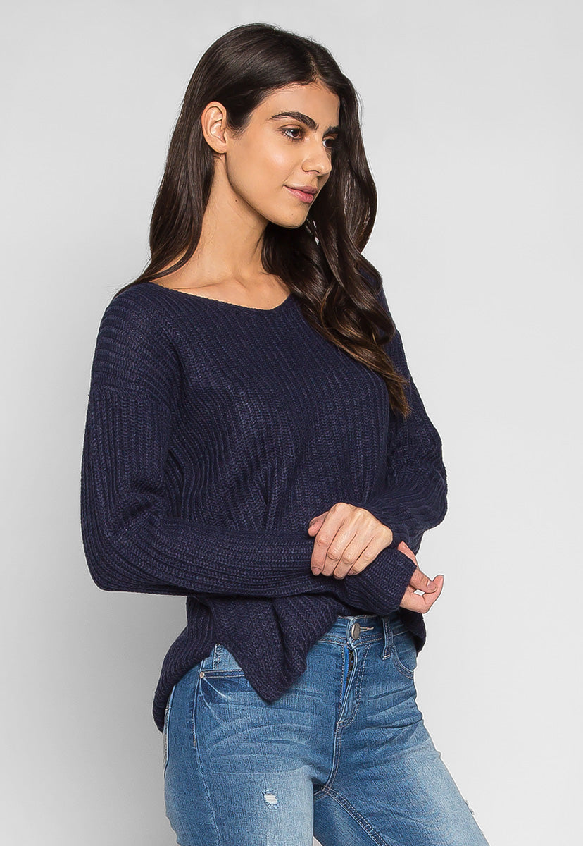 Loving It V Neck Pullover Sweater in Navy - Sweaters & Sweatshirts - Wetseal