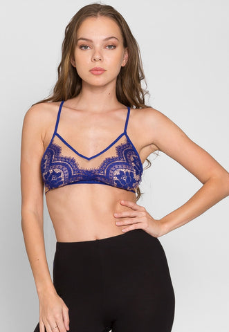 So Hot Eyelash Lace Bralette in Blue