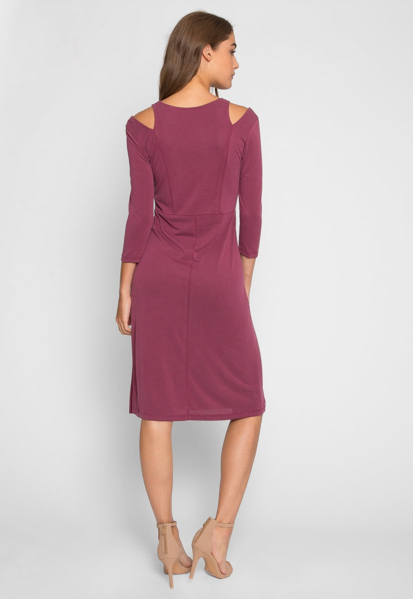Garnet Shoulder Cut Out Dress - Dresses - Wetseal
