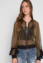 Aurora Iridescent Sheer Jacket in Olive