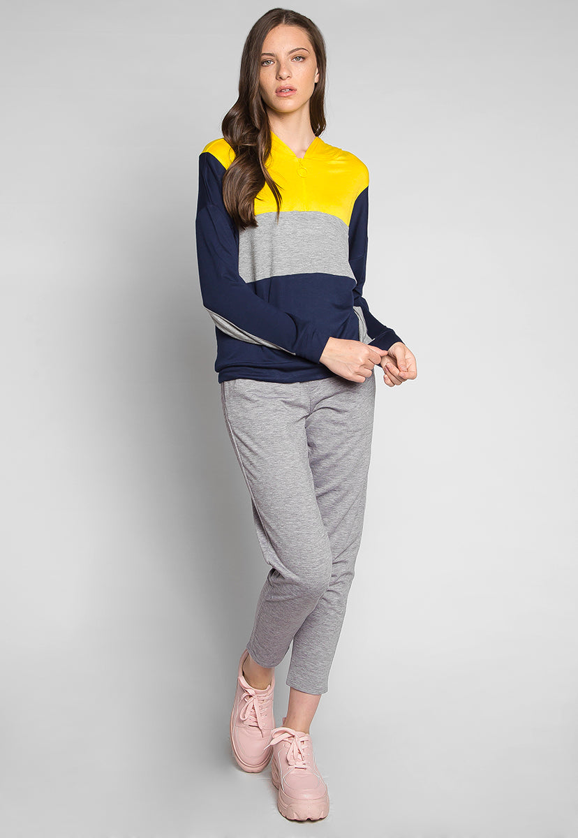 Gamers Color Block Hoodie in Yellow - Sweaters & Sweatshirts - Wetseal