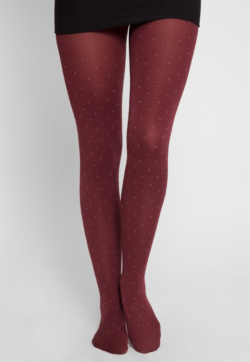 Northshore Opaque Dot Tights in Burgundy - Socks & Legwear - Wetseal
