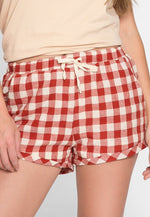 Beach Sunset Gingham Plaid Shorts in Red