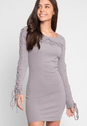 Abroad Lace Up Bodycon Dress in Gray