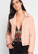 Gia Studded Leather Jacket in Pink