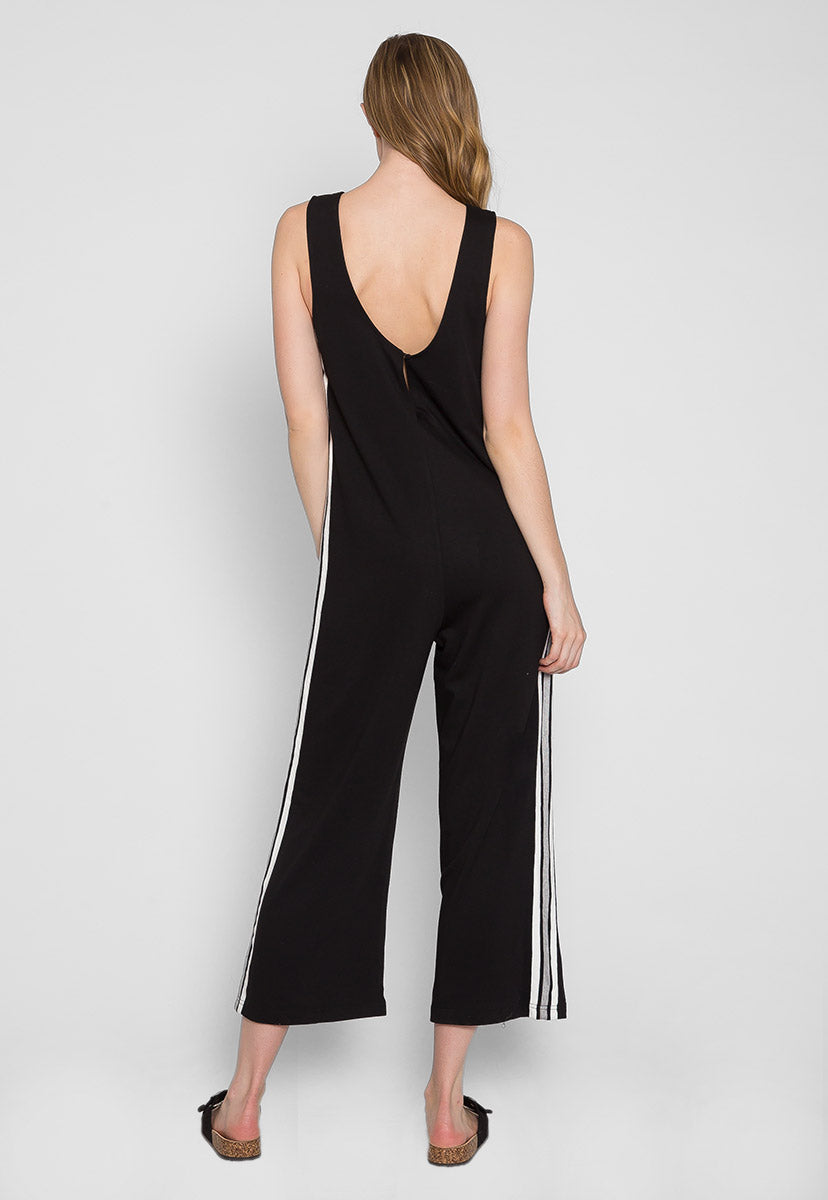 Sporty Side Stripe Jumpsuit in Black - Rompers & Jumpsuits - Wetseal
