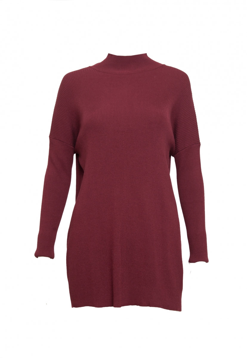 Rib Knit Turtleneck Top in Burgundy - Shirts & Blouses - Wetseal