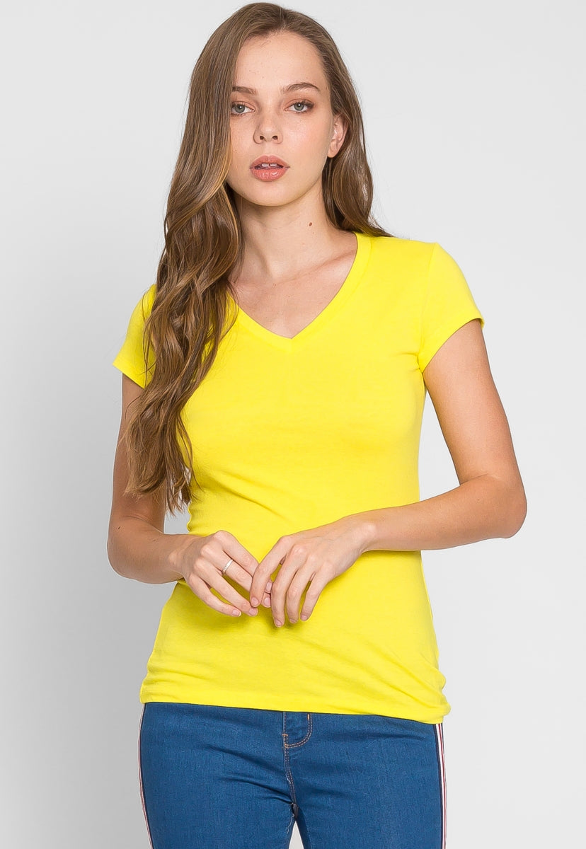 Chill V-Neck Basic Tee in Yellow - T-shirts - Wetseal