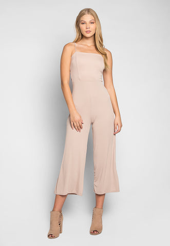Romantic Dinner Self Tie Rib Knit Jumpsuit in Beige