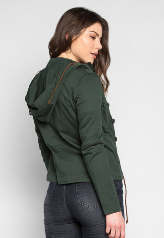 Venetian Button Front Hooded Jacket In Green
