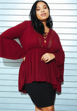 Plus Size Cherish Peasant Blouse in Wine