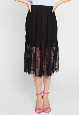Celebration Pleated Lace Midi Skirt in Black