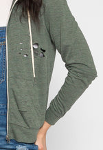 Journey Distressed Hoodie in Green