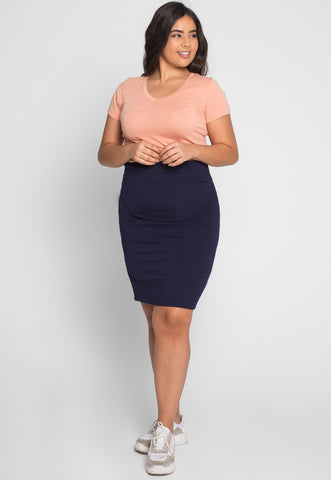 Plus Size Textured Fitted Skirt in Navy