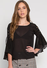 High Rise Flare Sleeve Top in Black