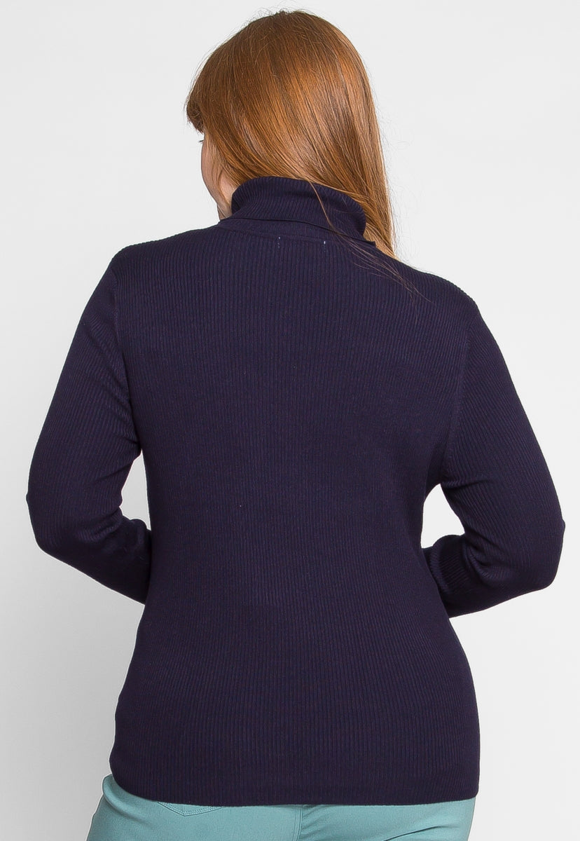 Plus Size Turtleneck Sweater in Navy - Plus Outerwear - Wetseal