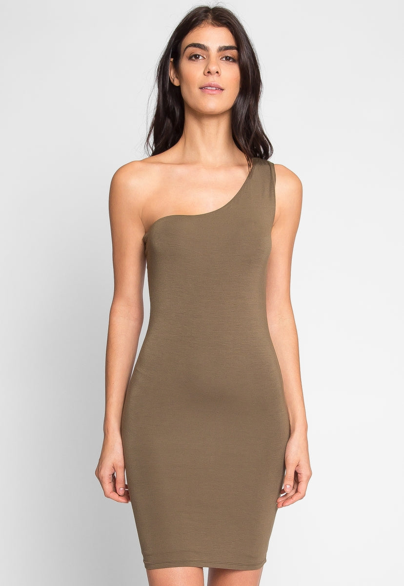Night Out One Shoulder Dress in Olive - Dresses - Wetseal