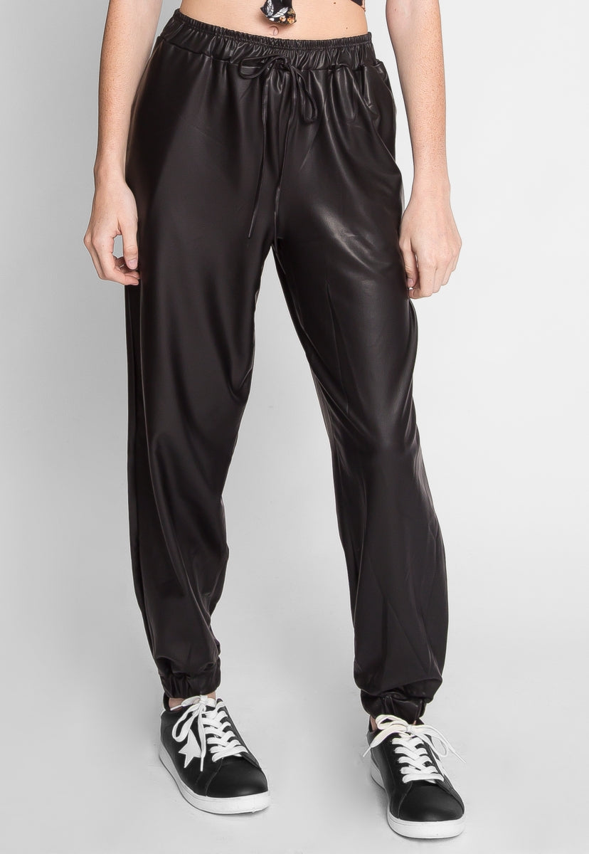 Harbor Faux Leather Joggers - Pants - Wetseal