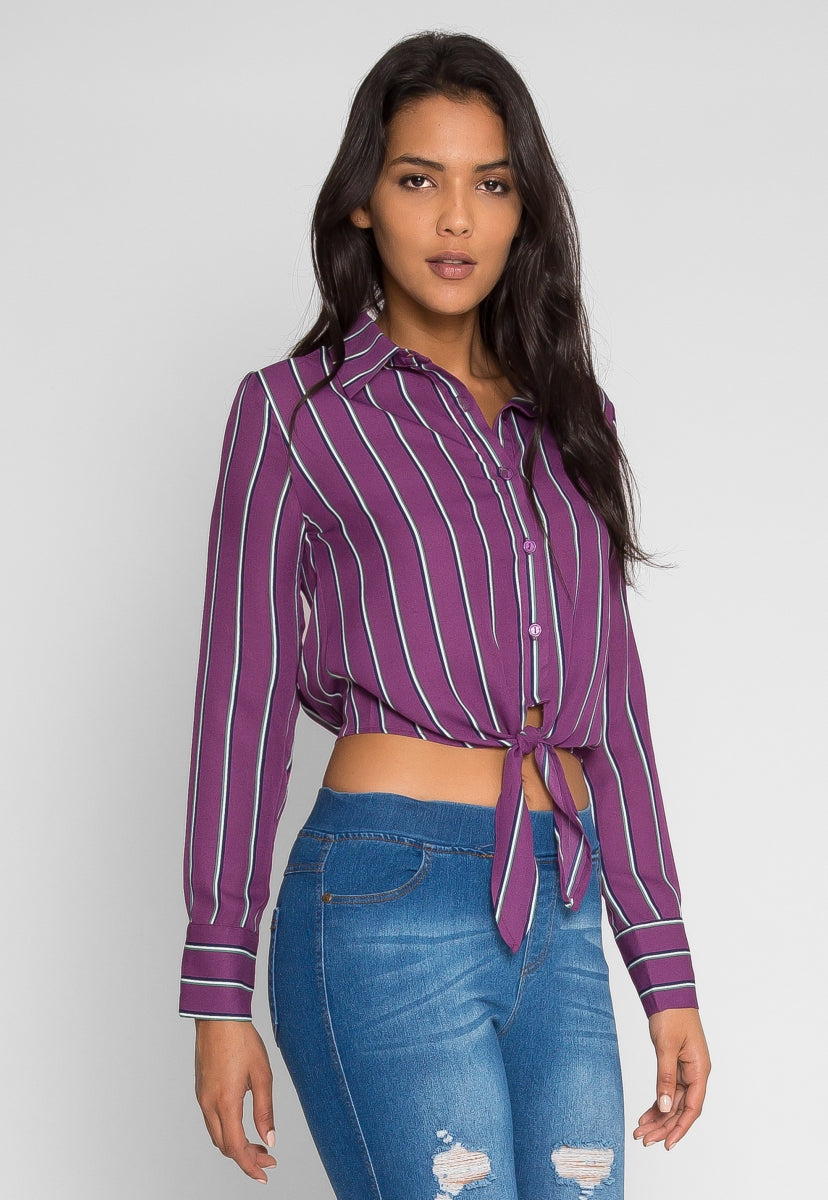 Applause Stripe Button Up Shirt - Shirts & Blouses - Wetseal