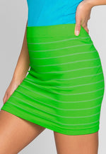 Luminous Stripe Knit Skirt in Neon Green