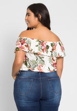 Plus Size Holly Tropic Off Shoulder Top in White