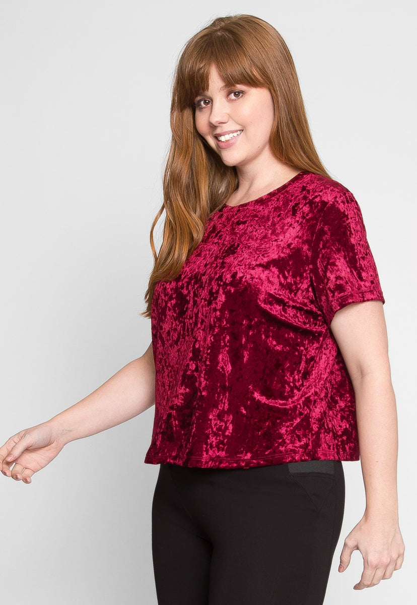 68a8b3e5f Plus Size Oak Crushed Velvet Top in Ruby | Wet Seal