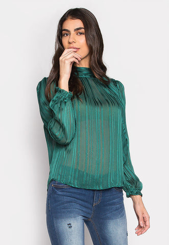 With All Your Heart Sheer Tie Neck Blouse in Teal