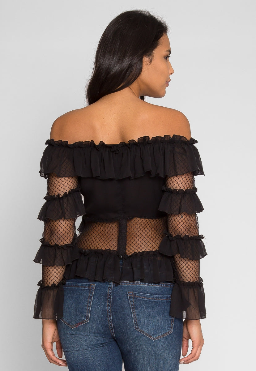 Majestic Mesh Off Shoulder Top - Shirts & Blouses - Wetseal