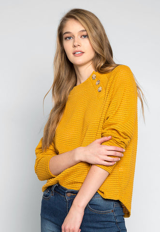 Coming Home Textured Sweater in Mustard