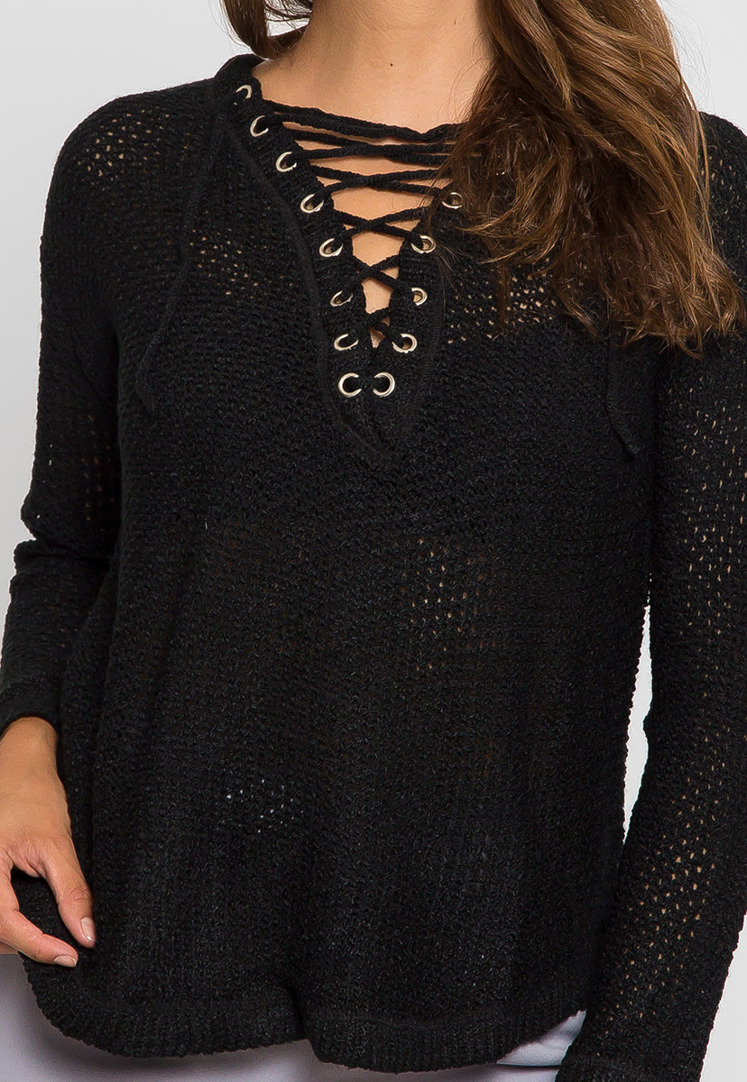 April Lace Up Sweater in Black - Sweaters & Sweatshirts - Wetseal