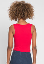 Candy Tank Henley Bodysuit in Red
