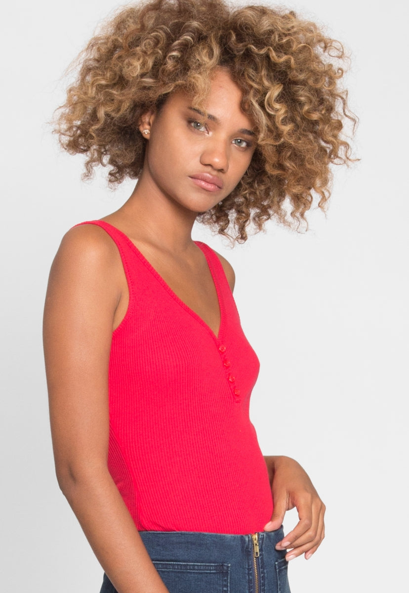 Candy Tank Henley Bodysuit in Red - Bodysuits - Wetseal