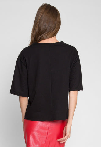 Talbert Button Sweatshirt in Black