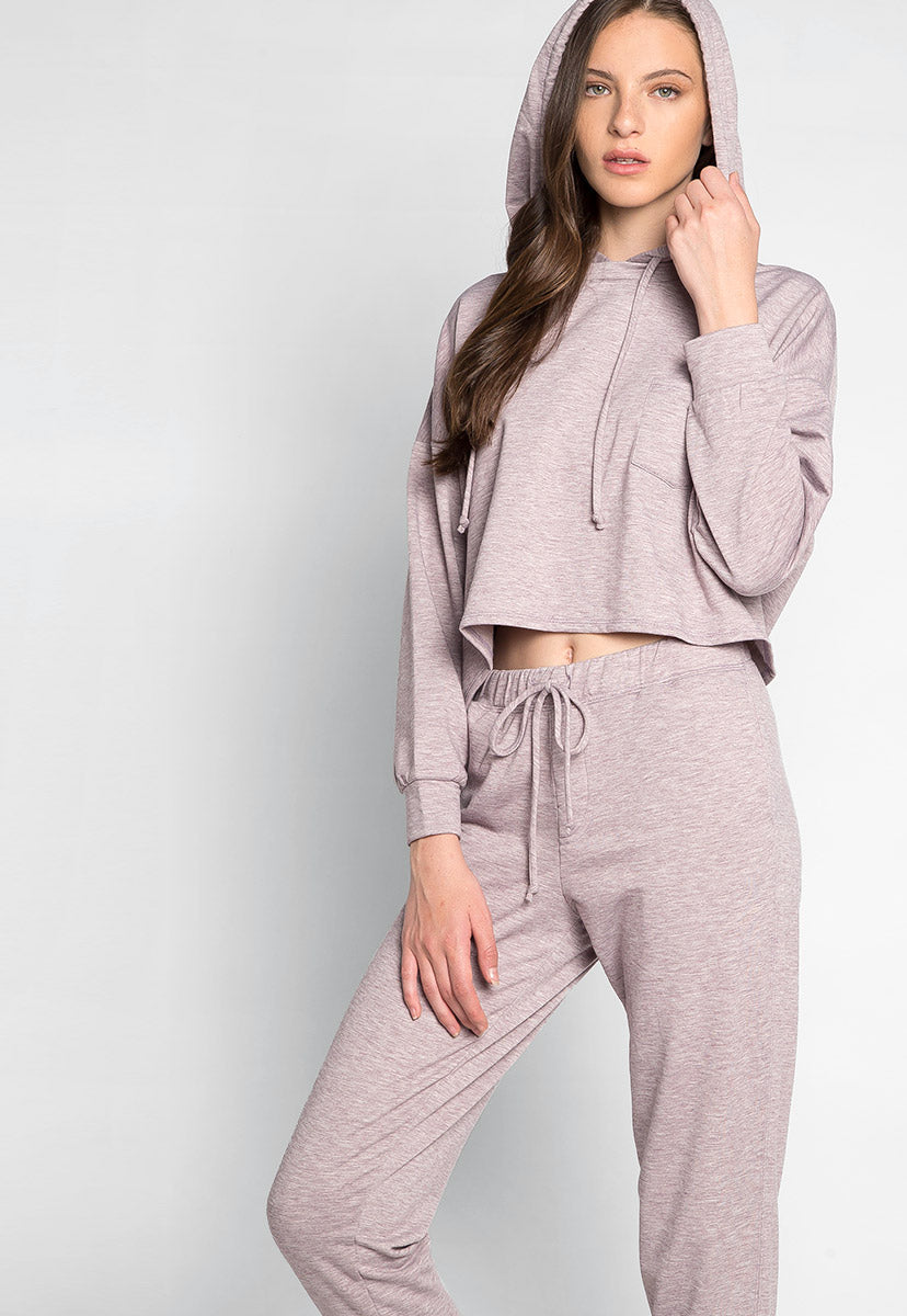Meet You There Cropped Hoodie in Lilac - Sweaters & Sweatshirts - Wetseal