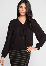 Berrymore Pintuck Blouse in Black