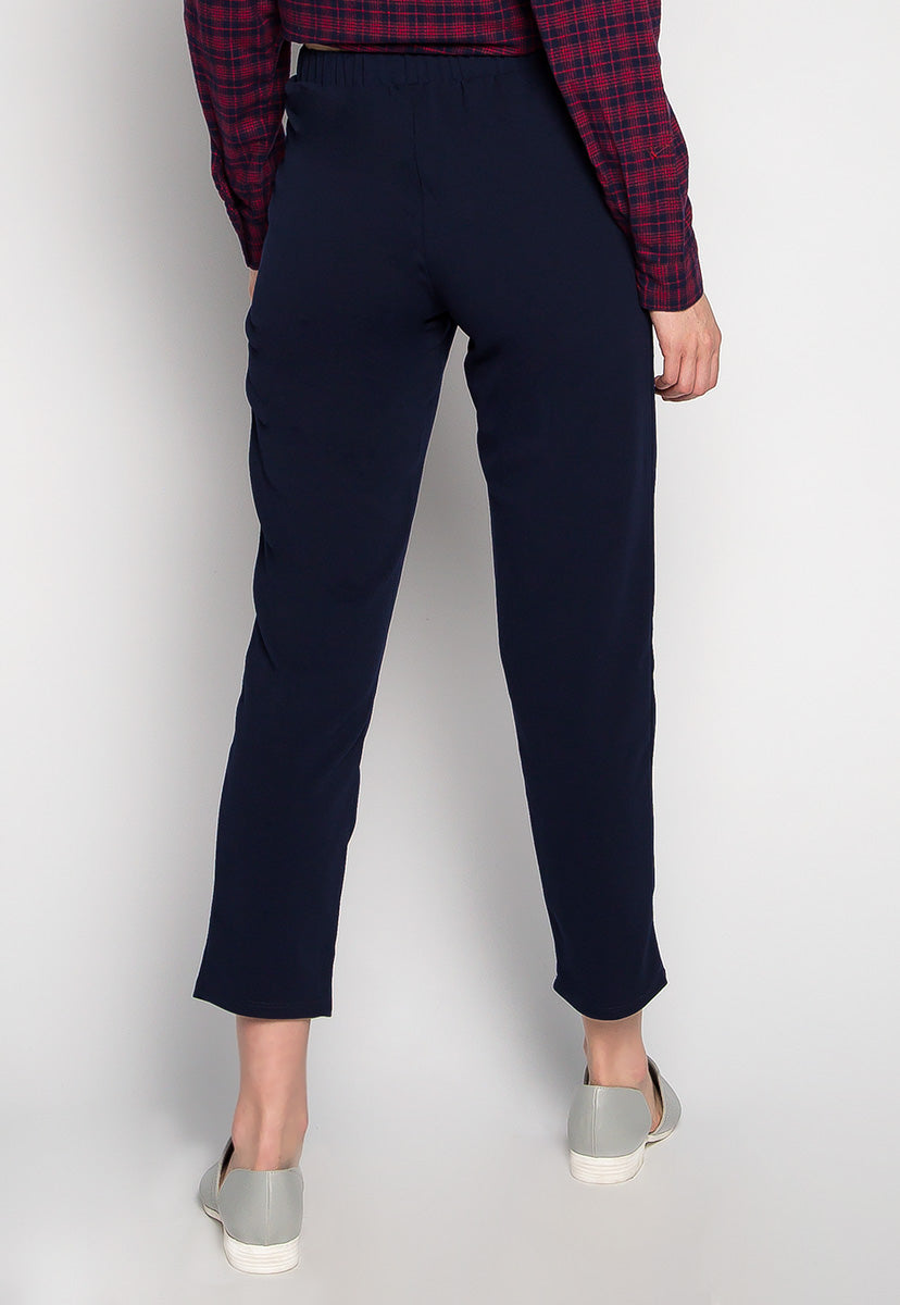 Good Times Cropped Pants in Navy - Pants - Wetseal