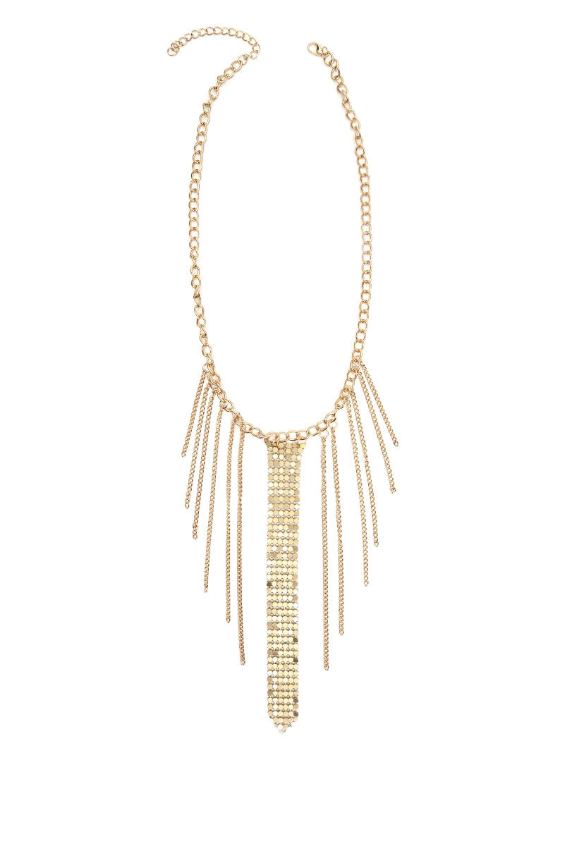 Chainmail Fringe Choker in Gold - Jewelry - Wetseal