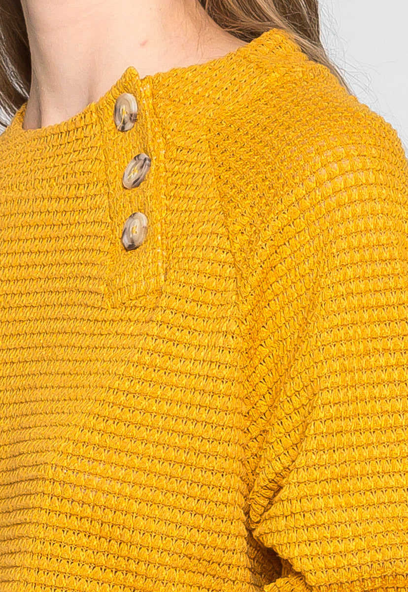 Coming Home Textured Sweater in Mustard - Sweaters & Sweatshirts - Wetseal
