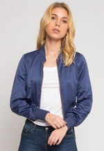 Luxe Satin Cropped Bomber Jacket in Blue